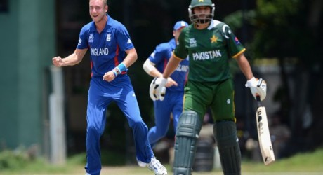 England captain Stuart Broad celebrates dismissing Shahid Afridi of Pakistan during the ICC T20 World Cup Warm Up Match