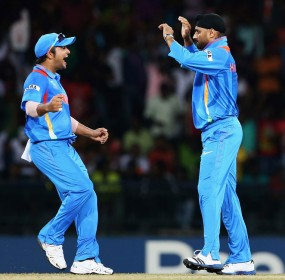Harbhajan Singh celebrates one of his four wickets