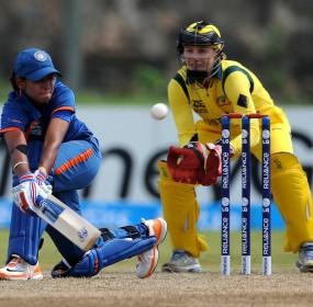 Harmanpreet Kaur plays a sweep, Australia v India, Women's World T20 2012