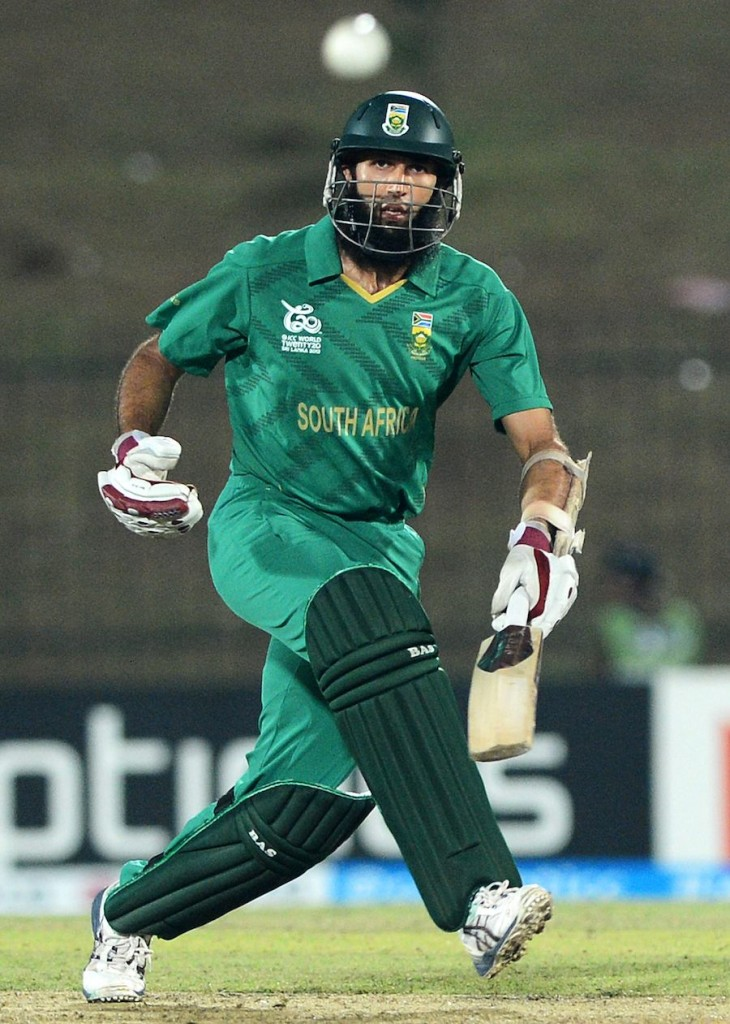 Hashim Amla runs between the wickets  during a world Twenty20 Cricket  Match