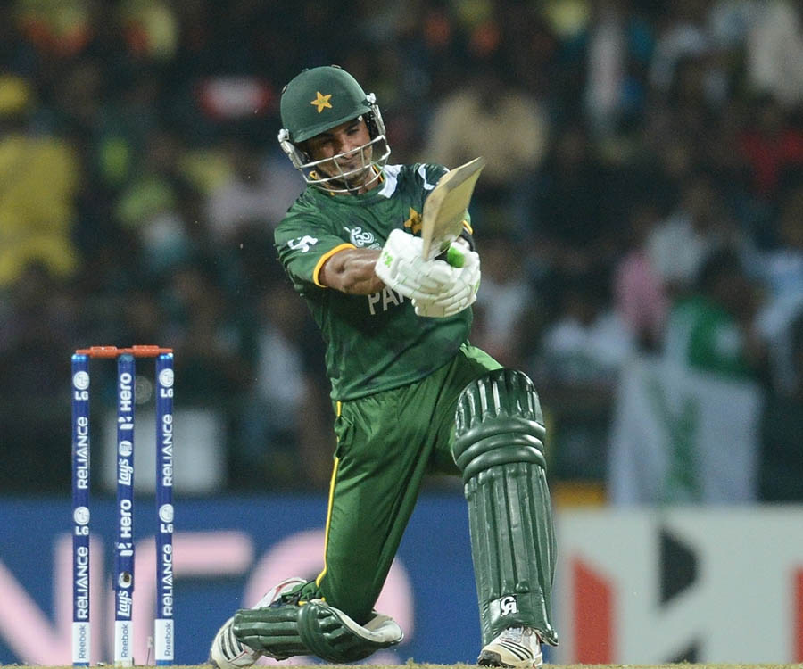 Imran Nazir plays a shot during the ICC Twenty20 Cricket World Cup match