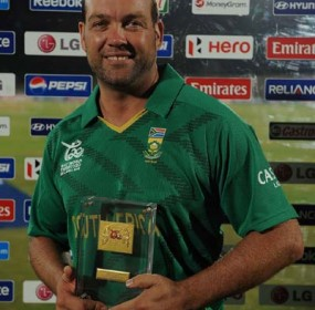 Jacques Kallis was named Man of the Match for his 4 for 15, South Africa v Zimbabwe