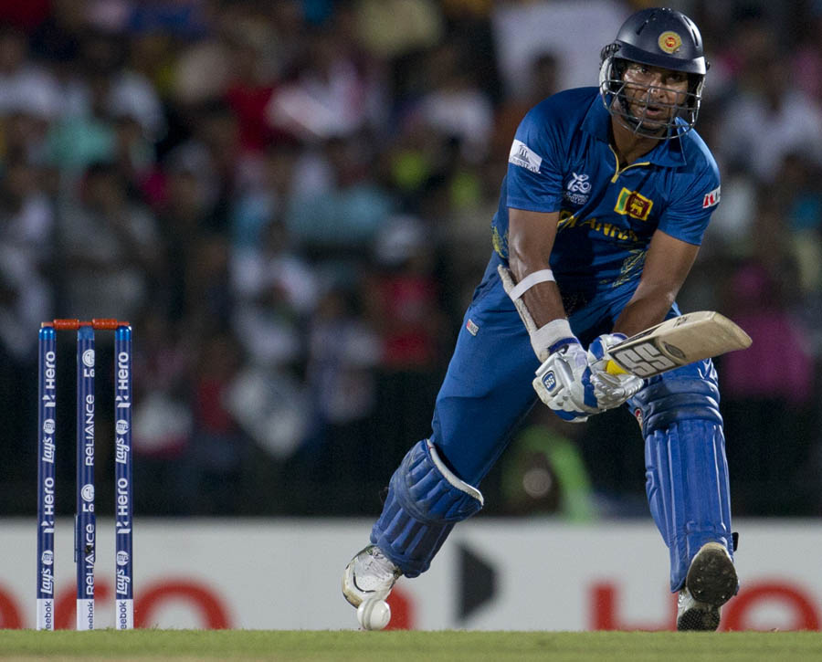 Sri Lanka's batsman Kumar Sangakkara looks for runs during a ICC Twenty20 Cricket World Cup