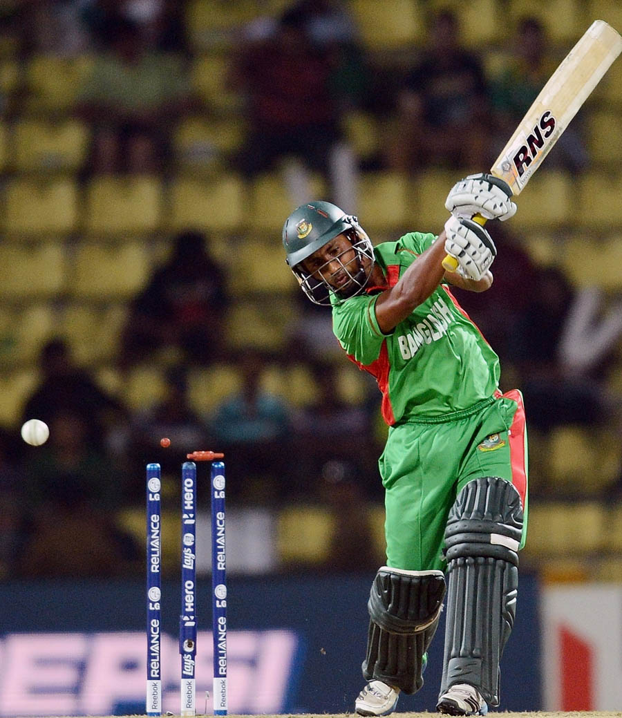 Mohammad Ashraful is clean bowled by Pakistan bowler Sohail Tanveer during the ICC Twenty20 Cricket World Cup match