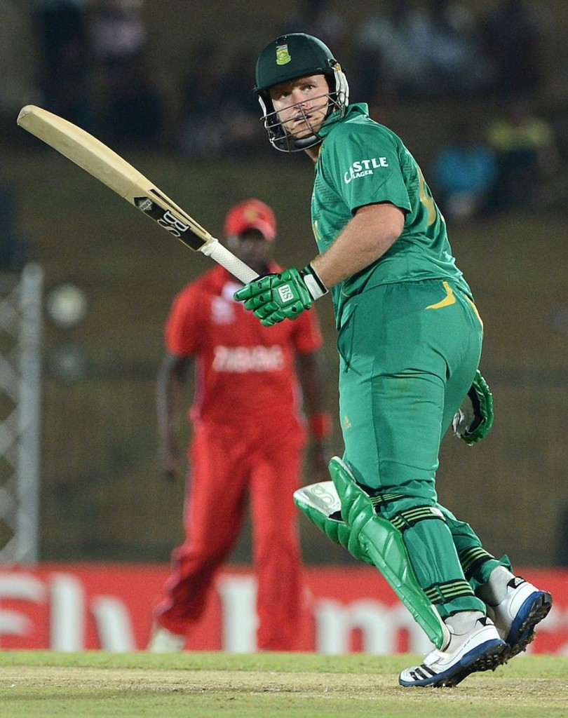 South African cricketer Richard Levi plays a shot during the ICC Twenty20 Cricket World Cup match