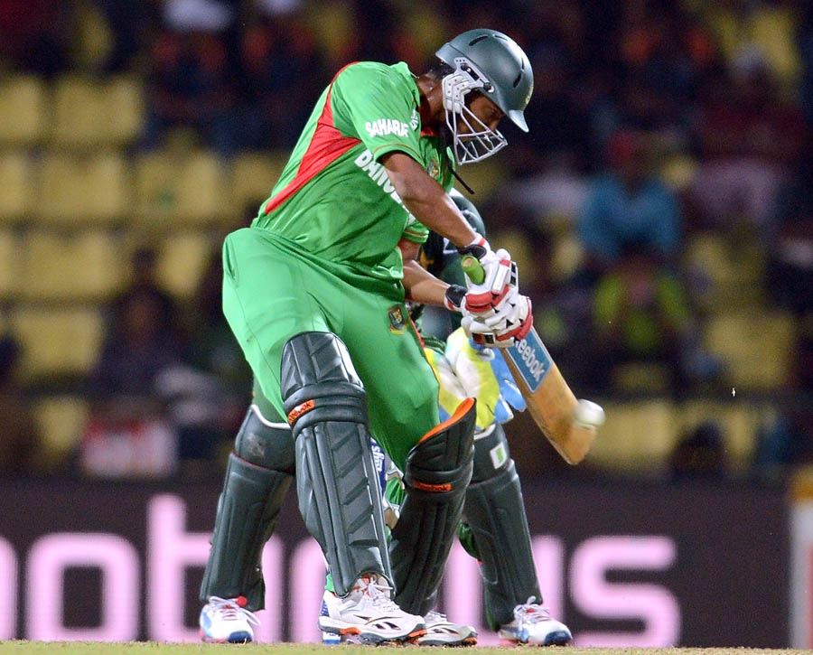 Shakib Al Hasan plays a shot during the ICC Twenty20 Cricket World Cup