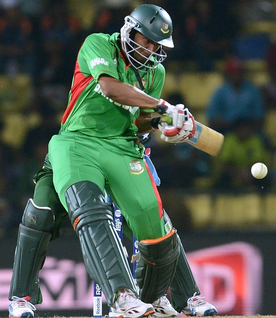 Shakib Al Hasan plays a shot during the ICC Twenty20 Cricket World Cup match