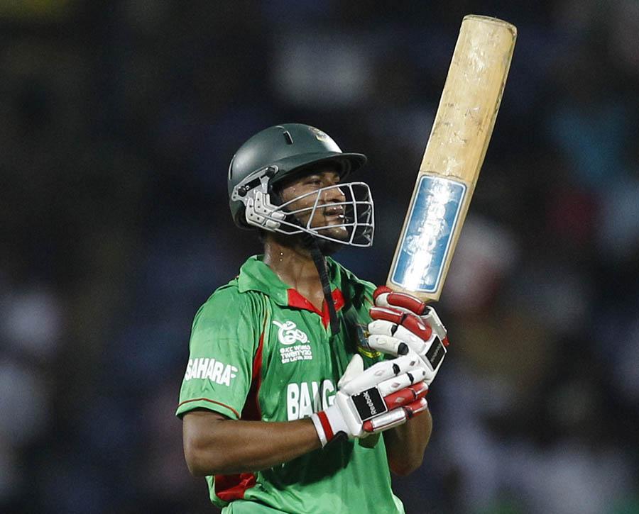 Shakib Al Hasan reacts after scoring a half century during the ICC Twenty20