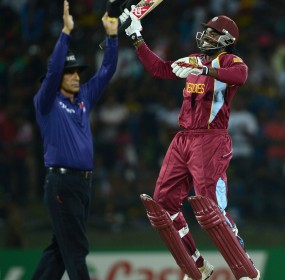 Chris Gayle sets off in celebration as West Indies win the Super Over