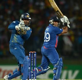 Samit Patel of England bats watched by Sri Lanka wicketkeeper Kumar Sangakkara