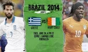 Greece vs Lvory Coast Football Match