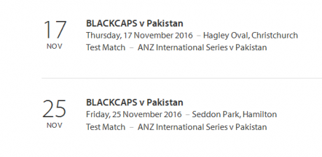 New Zealand Vs Pakistan Test Series Schedule 2016