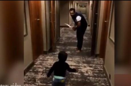 Sarfraz Playing Cricket With Son