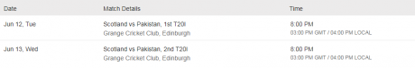 Pakistan vs Scotland T20 Schedule