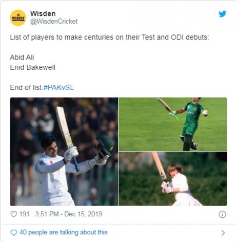 Wisden Cricket Tweet About Abid Ali Record