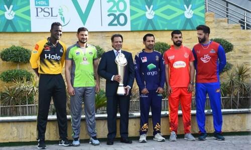 PSL 5 Team Captains with PSL Trophy